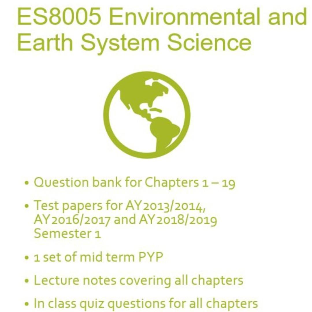 ES8005 Environmental and Earth System Study Materials, Books