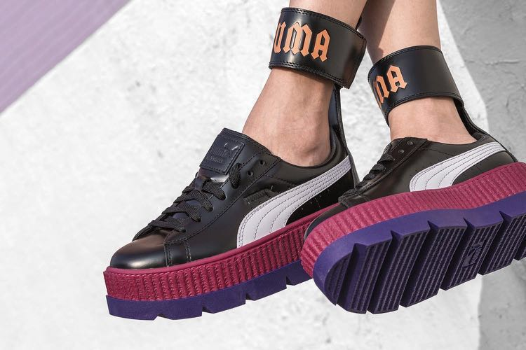 purchase cheap 72643 9e375 Fenty Puma by Rihanna Ankle strap creeper purple pink black leather  platform shoes 厚底波鞋