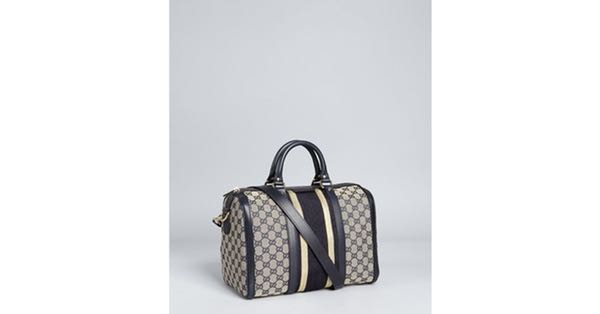 3810b39535a Gucci Navy and Gold Trim GG Canvas vintage web Boston bag