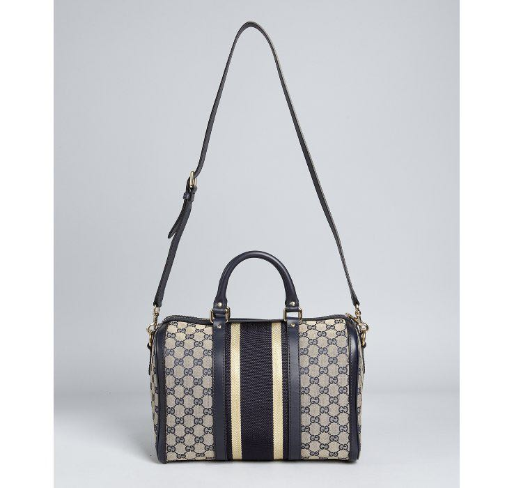 fe92380c96b8 Gucci Navy and Gold Trim GG Canvas vintage web Boston bag