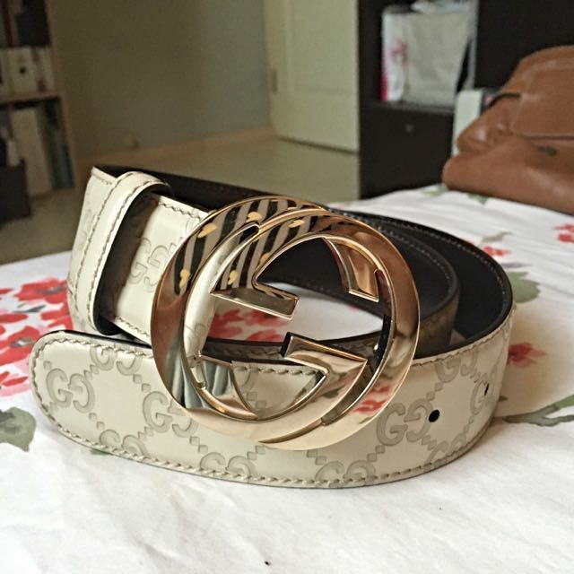 23440086b Gucci Signature Leather Belt , Luxury, Accessories, Belts on Carousell