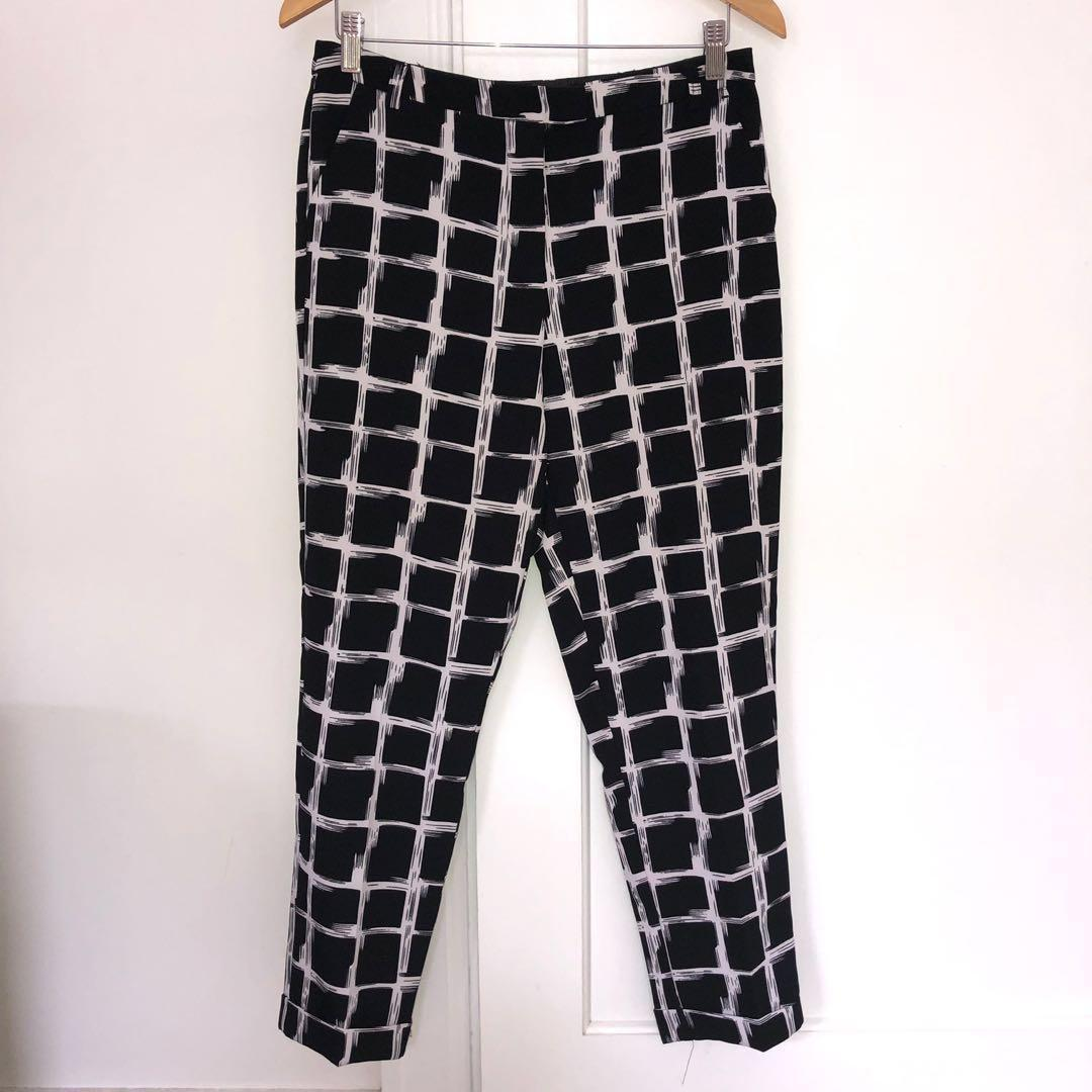 High Waisted Pants Check Tailored With Belt Loop Size 10