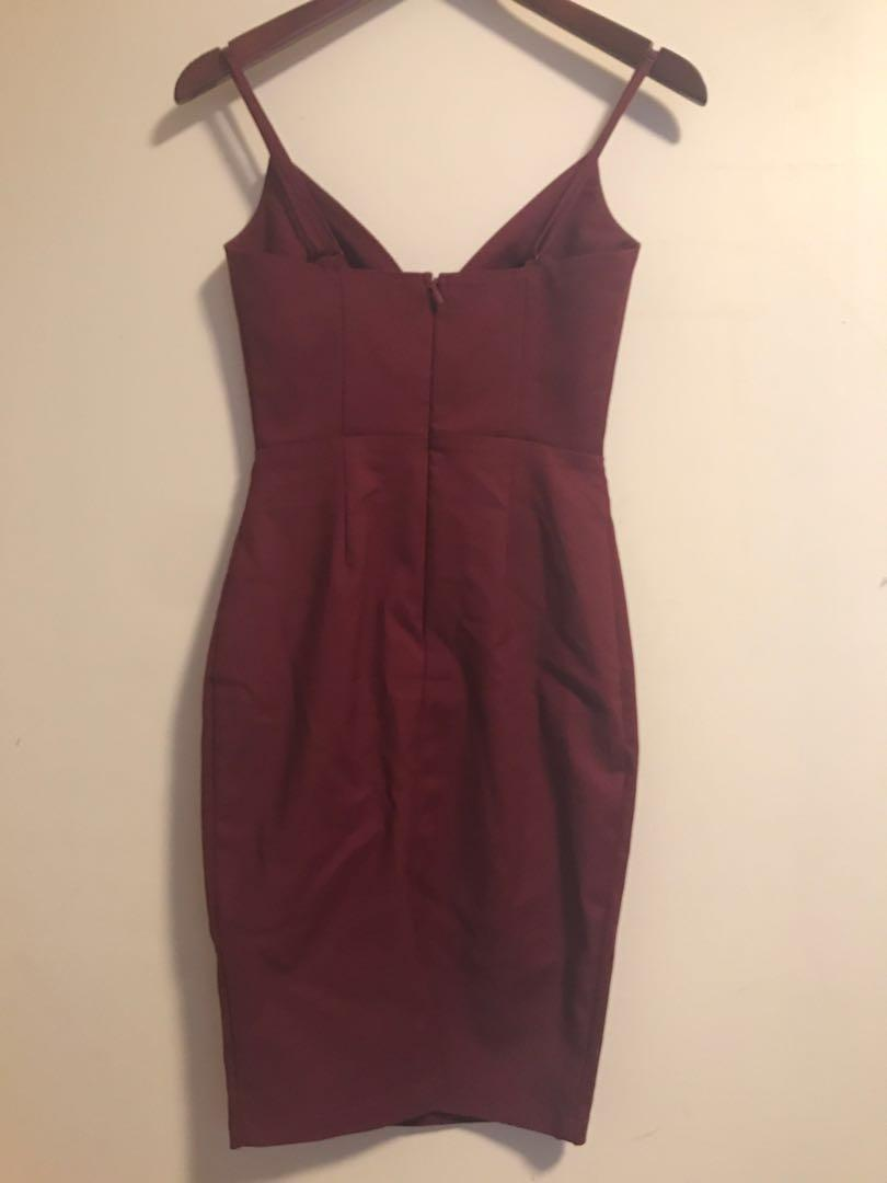 Maroon Triangle Bodycon Dress