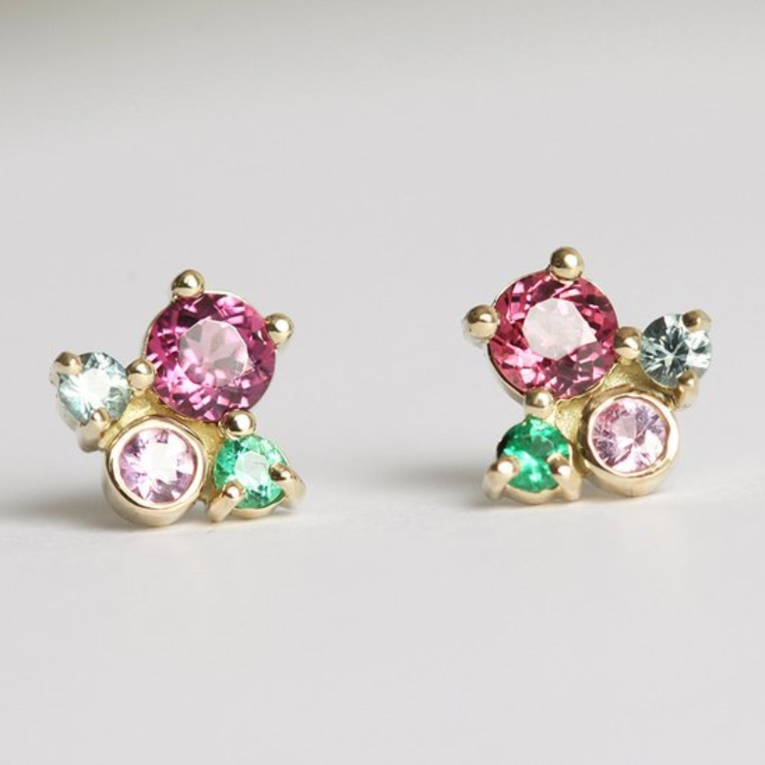 MULTI STONE CLUSTER EARRINGS COLOUR PINK AND GREEN STONES