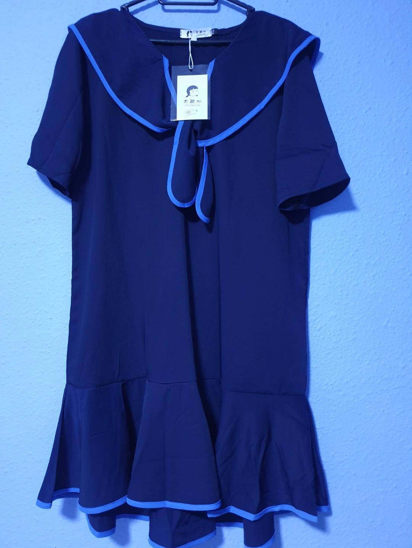 Navy Blue Peplum Dress
