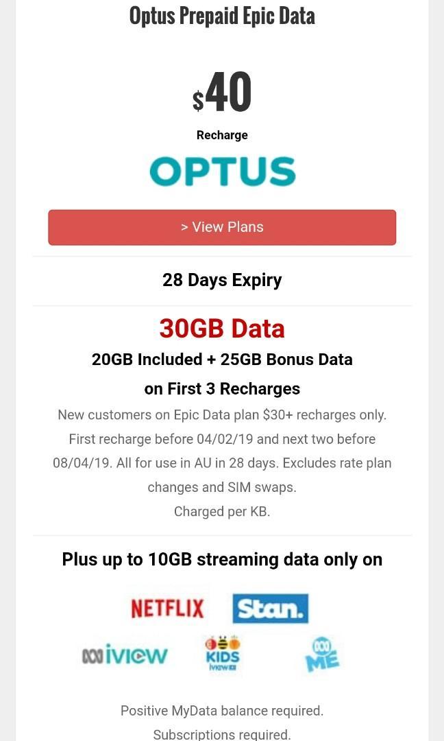 Optus prepaid sim card for Aust, Mobile Phones & Tablets