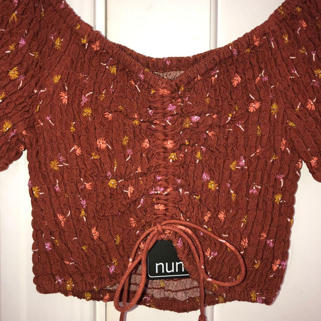 Orange Ruffle Crop Off the Shoulder Crop Size 6 NEW WITH TAGS