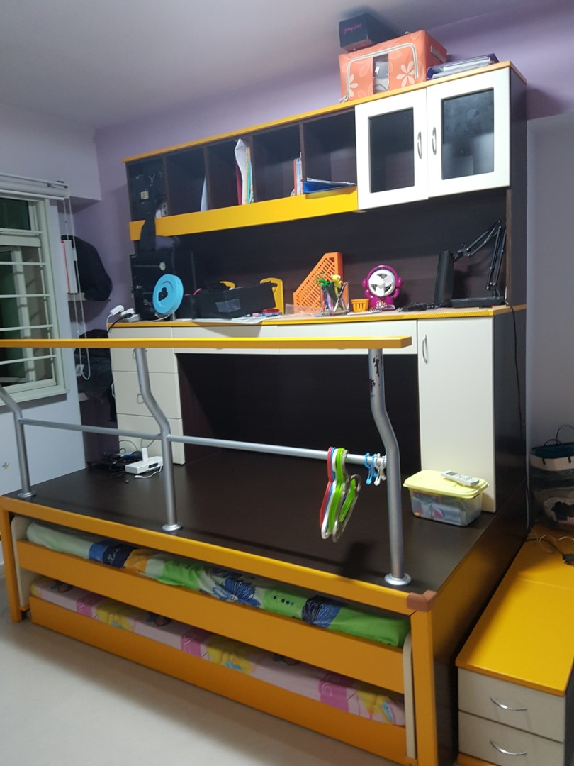 Price Reduced Cheap Study Desk With 2 Pull Out Bed And Matching