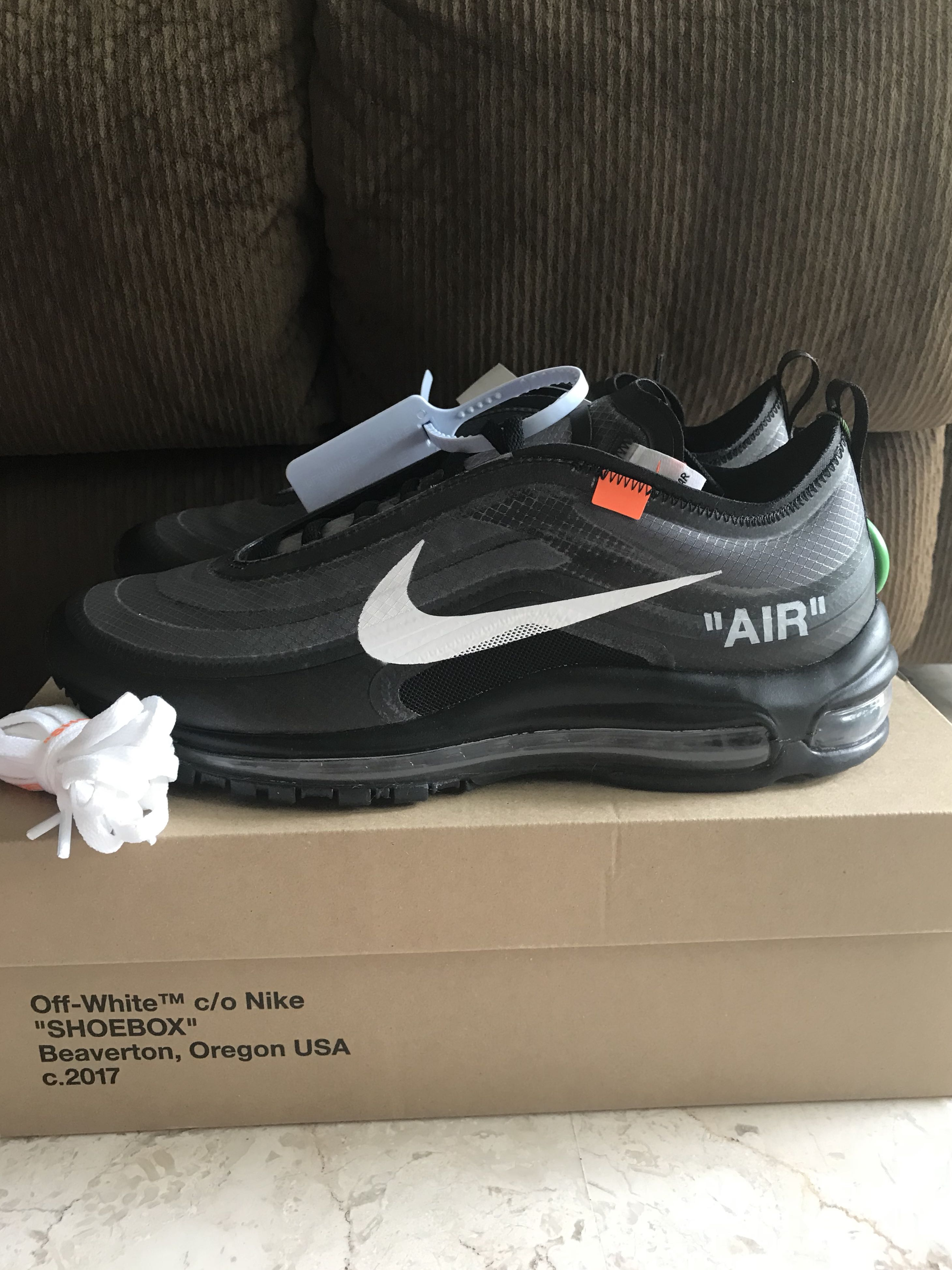 """7e0a9c506a66 US 9 Off White Nike Air Max 97 """"Black"""""""