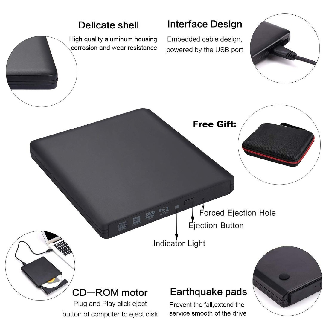 (BNIB) BISCON External USB 3 0 Drive with 6x Blu Ray, 8x DVD Writer for Mac  & PC (Brand New Boxed)