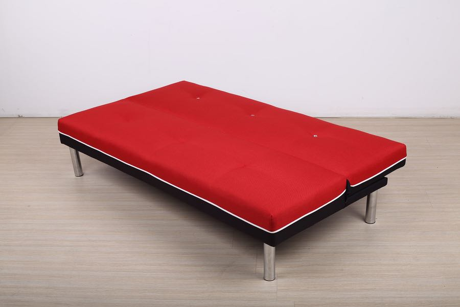 Year End Sales Sofabed Fabric Red With Metal Legs Furniture