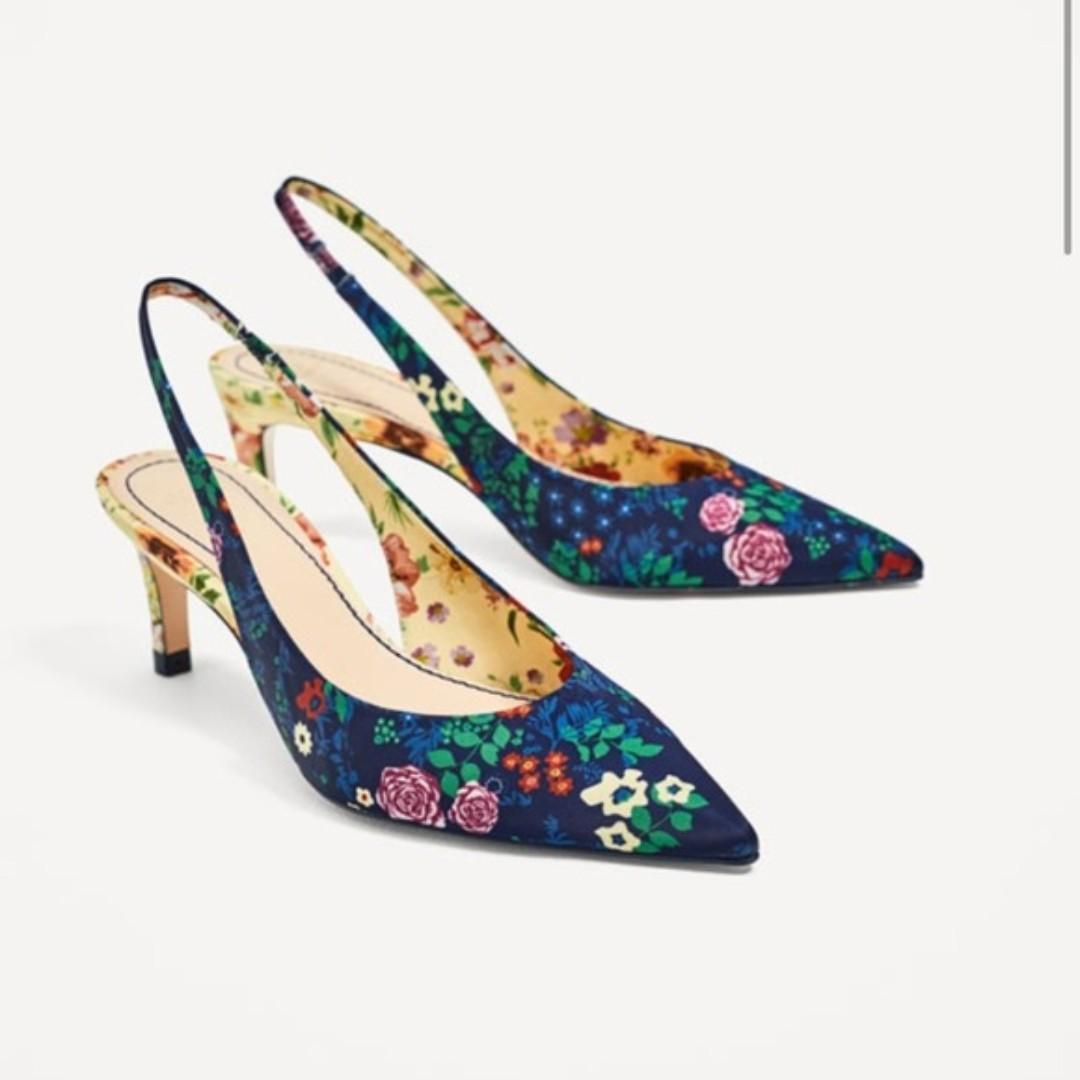 5e90756c510d Zara Floral Slingback Kitten Heels