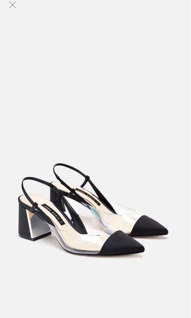 Zara vinyl slingback heels, Women's