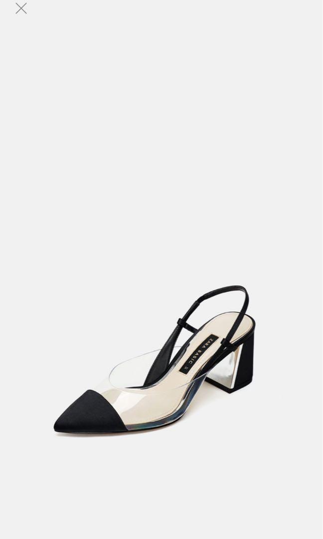 e4d2fb147a6 Zara vinyl slingback heels