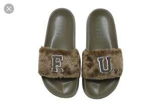 Puma Fenty Rihanna Furry Slides Slip on Sliders in Olive Green