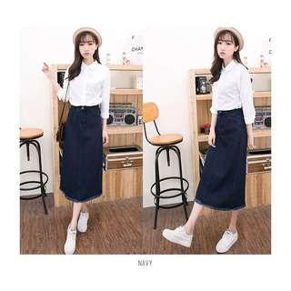 KARAKOREA demin skirt/rok jeans/rok wanita/rok perempuan/rok panjang