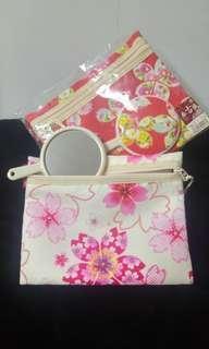 日本製手鏡連袋 hand mirror with pocket