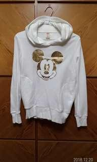 🚚 UNIQLO Disney米奇長袖雙口袋(毛巾布料)帽T,9成5新,size S,肩41,胸45,衣長55,袖60,乾淨無漬。