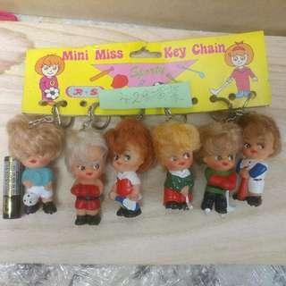 懷舊香港製造Mini Miss 運動造型公仔鎖匙扣