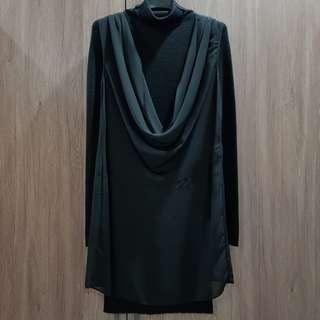 【二手洋裝】MOMA百貨專櫃 知性黑色高領針織洋裝#含運費