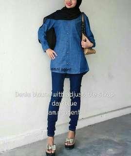 Denim blouse with adjustable strap