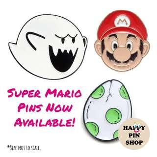 🚚 [AVAIL @ Cine] Super Mario enamel pins - Boo Ghost, Yoshi Egg, Super Mario