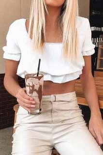 Pretty little thing peasant white short sleeve crop