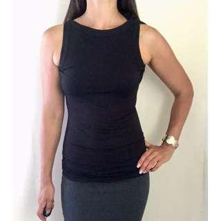 CUE Knit Black Cowl Neck Ruched Sleeveless Top Sz S 6-8