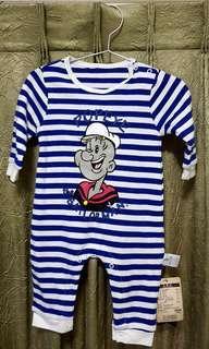 🚚 φмaчмaчφ!全新!【蓓萊樂Beilaile】大力選手卜派 藍色條紋 長袖 圓領 嬰幼兒連體衣/連身衣/兔裝。6個月