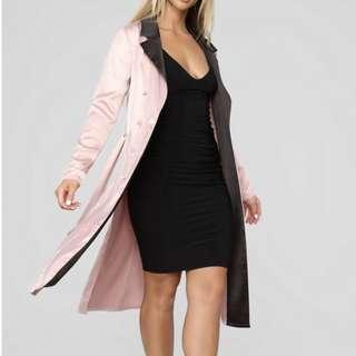 Pink satin trench coat
