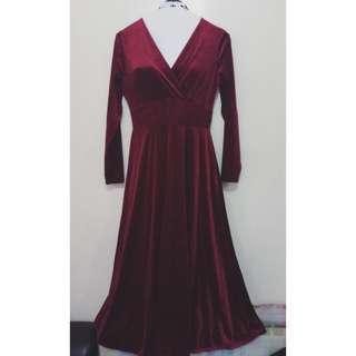 Maroon Velvet Long Gown