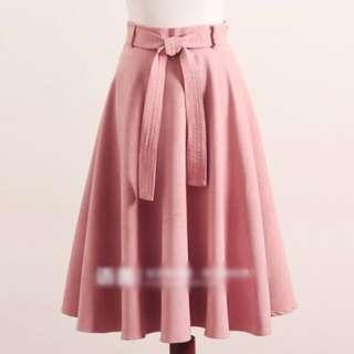 Pastel Pink Midi Highwaisted Skirt