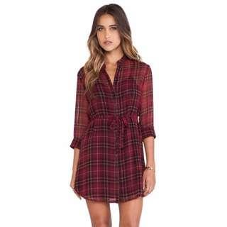 Tartan Sheer Overlay Dress