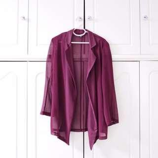 Wine Red Chiffon Outerwear