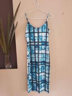 White Closet Blue/Light Blue Tartan Print dress