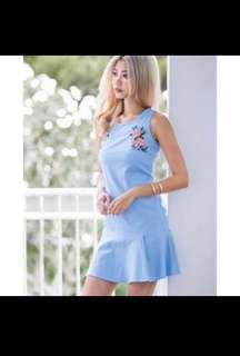 Mgplabel Embroidery Blue Dress #XMAS25