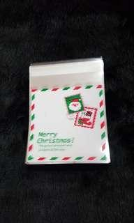 SALE LAST PACK NEW 18pcs Xmas Stamps Design Self-Adhesive Souvenir Cookie or Candy Plastic Pouch 10cm