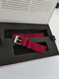 Hodinkee 20mm burgundy suede strap (short)