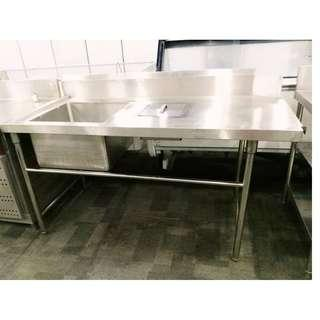 PURE STAINLESS STEEL BASIN WITH TRASH HOLE