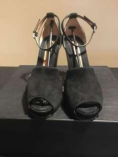 SPORTMAX Black Suede Silver Heels IT36.5