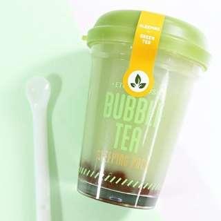 Etude house bubble tea sleeping pack green tea