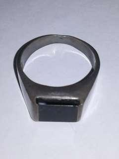 925 Silver Ring with Square Black Stone