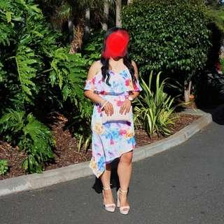 floral off shoulder dress asymmetric
