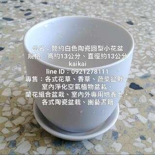簡約白色陶瓷圓型小花盆(附水盤),特價250元
