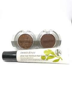 Innisfree eyeshadow glitter and Matt 07 Plus nail&cuticle cream