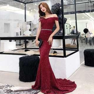 [FAST PO] Korean Ulzzang Evening Gown Off Shoulder Dress Elegant Temperament Fishtail Long Skirt Dress