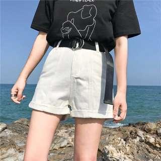 Basic Denim Shorts With Belt