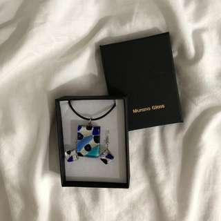 Murano Glass earrings & necklace set