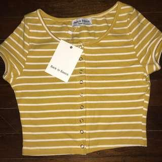 Yellow button up crop