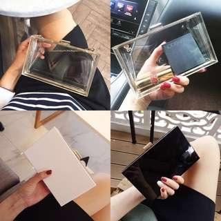 [FAST PO] Korean Ulzzang Acrylic Mini Chain Clutch Transparent Evening Bag Luxury